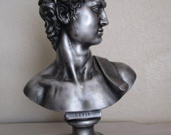 Vintage Silver Chalk Ware Plaster Sculpture Bust of David Statue