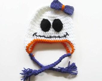 Crochet Ghost Earflap Baby Hat - Halloween Baby Earflap Hat - Cute Ghost Earflap Hat - Size 3 to 6 Months
