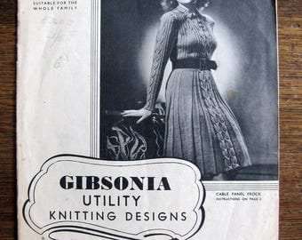 vintage knitting pattern book - Gibsonia Utility knitting designs - art to wear No 4 - dress and knit tops - 1940s