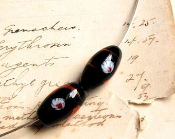 vintage black lampwork glass beads with red and white details - 21mm - perfect pair for earrings