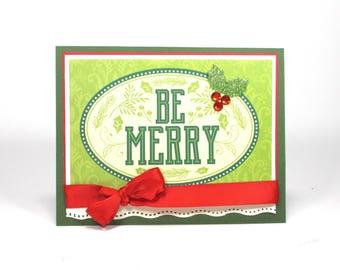 Christmas cards, Handmade Christmas cards, Bella card creations, Be merry, Xmas cards, Holiday cards, holly, Christmas cards handmade