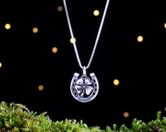 Sterling Silver Lucky Shamrock and Horseshoe Charm - (Charm or Necklace)