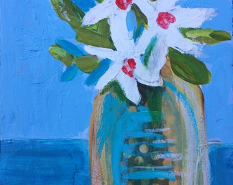 Mixed Media Mini  Still Life Painting on Gallery Wrapped Canvas