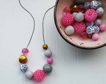 poster child necklace - remixed upcycled bead - chunky necklace - vintage beads - bronze, metallic, hot pink, grey, chevron, black and white