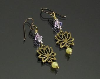 Lotus Earrings, Brass Yoga Jewelry, Dangle Earrings, Lotus Brass Boho Earrings, Niobium Earrings, Unique Spiritual Jewelry Buddhist Gift