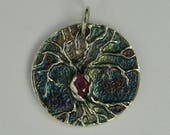fine silver tree of life pendant with pink sapphire ruby and rainbow patina PMC DTPD
