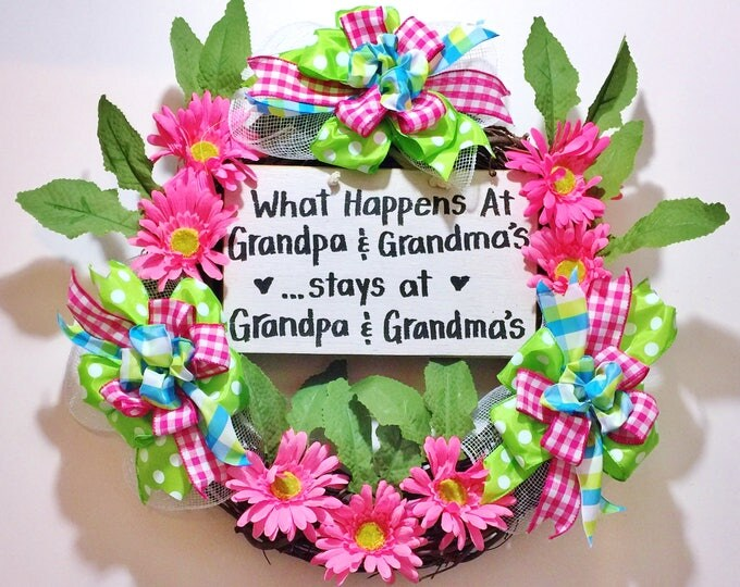 FREE SHIPPING What Happens and Grandpa and Grandmas Stays - Welcome Grapevine Door Wreath