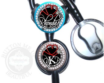 """1 1/2"""" Design Stethoscope ID Tag - Personalized Stethoscope Tubing Heart Nurse Littmann Identification in 6 Color Choices (A362)"""