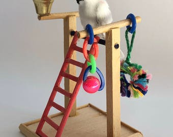 112 scale dollhouse miniature cockatoo parrot and play stand artist made flocked feathered ooak