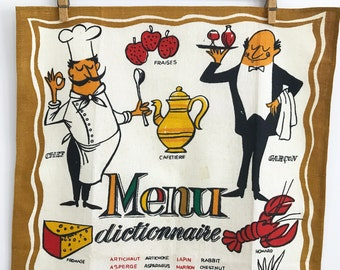 Tea Towel French English Menu Dictionary Linen Textile Waiter Chef