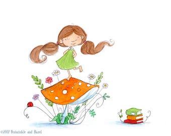 Fairy on Orange Mushroom - Fairy with Auburn Hair - Art Print