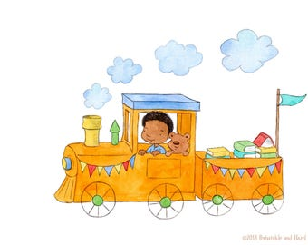 All Aboard - Toddler Baby Boy and Teddy Bear - Art Print