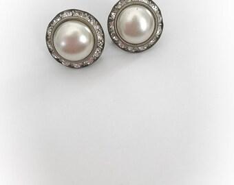 Vintage Faux Pearl and Rhinestone Earrings Screw Backs
