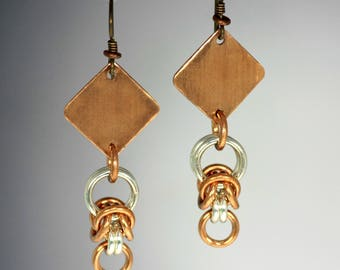 Copper and Silver Chainmaille Earrings, Niobium Earwire Chainmail Earrings, Copper Dangle Earrings