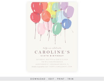 Rainbow Party Invitation | Rainbow Birthday Invitation, Rainbow Baby Shower, Rainbows and Unicorns, Rainbow Birthday Party, Rainbow Invite