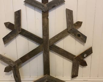 "36"" Large wooden snowflake, Reclaimed wood snowflakes, rustic wooden snowflakes, Rustic Winter Home Decor, weathered barn wood snowflakes"