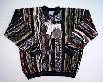 80s COOGI Australia Sweater 2XL NEW Old Stock Sweater mercerized cotton, Big Guys Crewneck Coogi Earth Tones Black Brwn Grn 3D Geometric 2X
