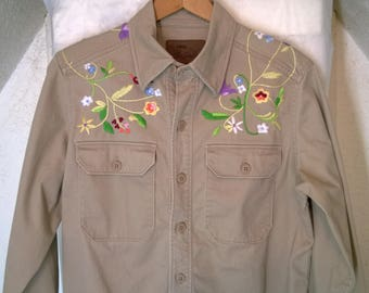 Vintage 80s 90s Western Shirt by Bob Timberlake, Stitching Embroidery Floral Cowboy