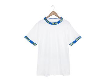 FRAKTee - IKEA Frakta T-shirt, Mock Neck Shirt, Ikea Ringer Tshirt, Tumblr Tee in White and Blue - Unisex Size S-5XL