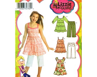 Girls Dress or Top, Capri Pants Sewing Pattern Simplicity 3771 Lizzie McGuire Size 7 to 14