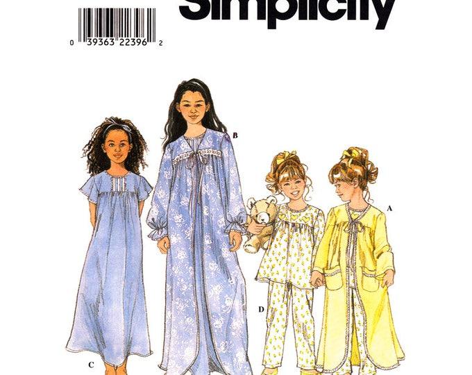 Girls Robe Nightie Pajama Sewing Pattern Simplicity 8488 Nightgown Sleepwear Size 3 4 5 6