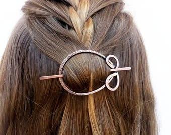 Boho hair slide Circle hair barrette Oval hair slide Rustic hair barrette Metal hair pin Rustic copper slide Shawl pin Women gift For her