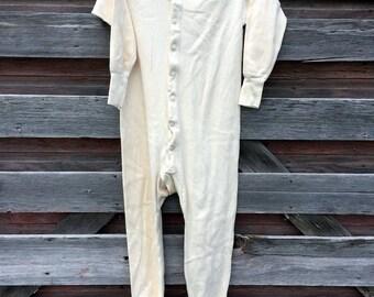 Vintage Antique Mens Long Johns Long Underwear full suit Cotton Size Medium