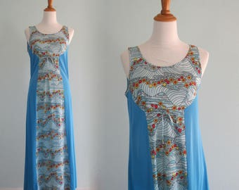 Vintage 60s Nightgown - Cute 60s Night Gown with Super Mod Floral Print - Vintage Mod Blue Nightgown - Vintage 1960s Nightgown M as is