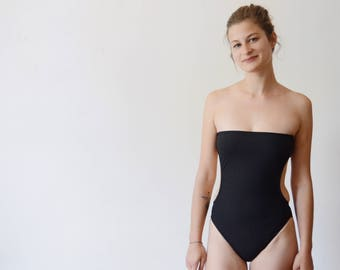 Petite Late 1960s Black Strapless Bathing Suit - XS