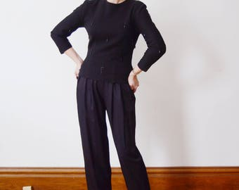 Fitted 1950s Black Wool Beaded Sweater - S/M