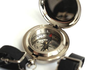 Steampunk Compass Set , Leather Keychain , Pocketwatch Fob , Nautical , Steampunk Costume , Steampunk Travel , Silver Compass , Silver