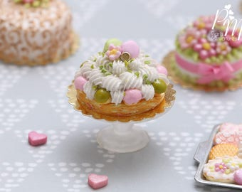Pink and Pistachio St Honoré French Pastry - Decorated with Macarons - Miniature Food for Dollhouse 12th scale (1:12)