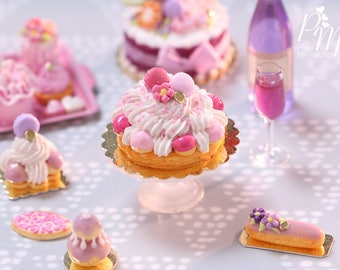 Pink St Honoré French Pastry - Miniature Food for Dollhouse 12th scale (1:12)