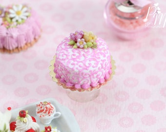 MTO-Pink Arabesque Swirls Cake, Decorated with Flowers - Miniature Food in 12th Scale for Dollhouse