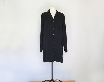 BLACK SILK // minimalist 80s silk shirt dress or long jacket