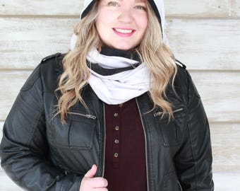 Gifts for Her, Gift Ideas, Hooded Infinity Scarf, Hooded Scarf, Christmas Gift, White Scarf, Fashion Scarves, Heidi and Seek, Hoodie Scarf