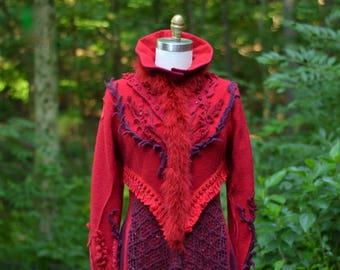 Red long SWEATER COAT,  boho eco fashion fantasy, wearable art festival fashion, goddess artisan clothing. Size Large. Ready to ship