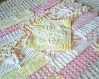 "Vintage Chenille Bedspread Squares-Pretty Pink and Yellow - 24-6"" blocks"