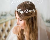 Bridal Hair Vine Wreath Halo, Wedding Flower Hair Vine Wedding, Wire Hair Vine, Silver Gold Rose Gold - 'BELLA'