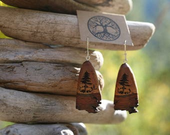 Mtn. Mahogany Tree Earrings- Wooden Earrings- - Natural Wood Jewelry- Eco Earrings