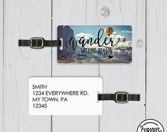 Luggage Tag Wander without Reason Hot Air Balloon  Metal Luggage Tag With Custom Info On Back Great Luggage Finder Single Tag