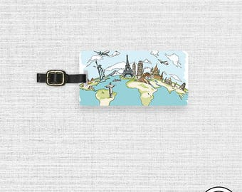 Luggage Tag World Monuments Travel Metal Luggage Tag With Custom Info On Back, Single Tag