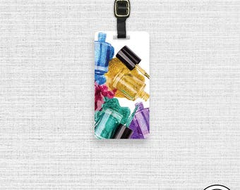 Luggage Tag Nail Polish Glitter Rainbow Colors Metal Luggage Tag With Custom Info On Back , Single Tag