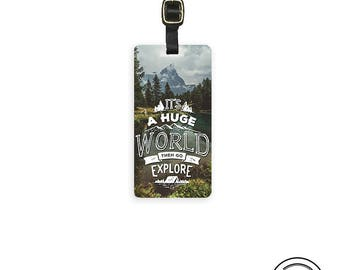Luggage Tag Huge World Explore Vintage Style Metal Luggage Tag Custom Info On Back, Single Tag