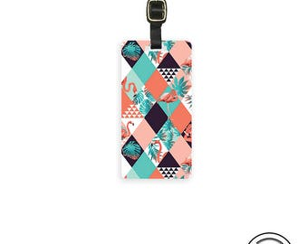 Luggage Tag Art Deco Flamingo Luggage Tag Custom Info On Back, Single Tag
