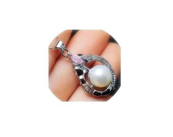 Pearl Pendant ,  Pink Cubic Zirconia Crystal , Large White Pearl Pendant , 925 Sterling Silver Chain