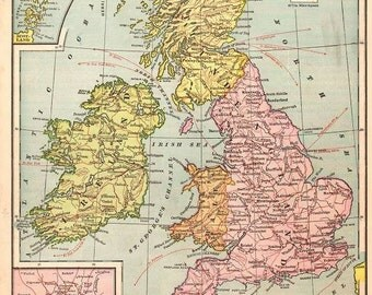 Digital Image Vintage Print Map of The British Isles Ancestry Ireland Scotland England Pink Yellow Blue 3.63MB 9 1/2 x 12 inch or larger
