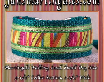 "Jansmartingales, Dog Collar Leash Combination Walking Lead,  Italian Greyhound, Small Dog Size, 9 1/2"" Collar Section. igrn097"