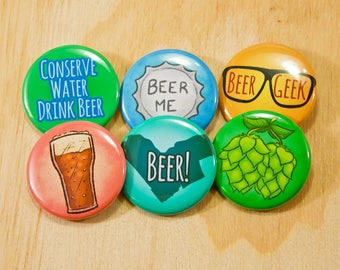 Beer buttons 1.5 inch pinback button