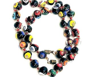 Vintage Black Millefiori 24 Inch Glass Bead Necklace